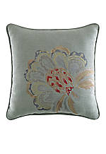 Retreat Aqua Square Multicolored Floral Motif Embroidered Fashion Decorative Pillow 14-in. x 14-in.