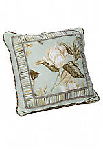 Grandiflora Mint Green Jacquard Decorative Pillow 18-in. x 18-in.