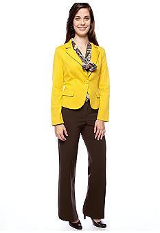 New Directions® ND New Directions Petite Solid One Button Knit Blazer, Low Bow Blouse & Pant with Front Coin Pockets