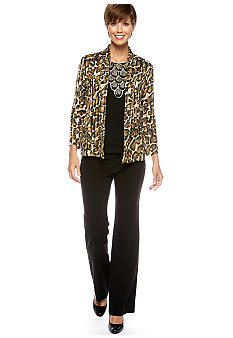 Ruby Rd Black Magic Jaguar Spots Print Cardigan, Black Magic Sequin Scallop Print Top & Extended Tab Flat Front Side Elastic Pant