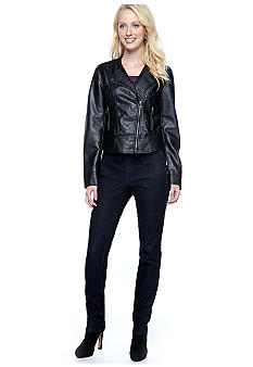 Calvin Klein Jeans Asymmetrical Zip Moto Jacket, Shimmer Fitted Knit Top & Curvy Fit Skinny Jean