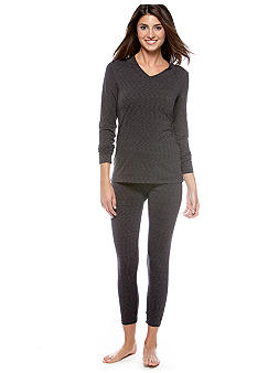 Cuddl Duds Flex Fit Long Sleeve V-Neck Top  & Flex Fit Legging - Online Only