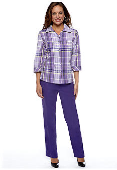 Kim Rogers® Kim Rogers Petite Plaid Blouse and Petite Fit Microfiber Pant Average Inseam