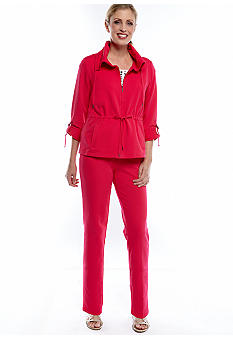 Ruby Rd Pack a Punch Knit Pants, Anorak Knit Jacket, and Embellished Cap Sleeve Tee