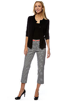 Madison Core Cardigan & Stretch Sateen Geometric Printed Ankle Pant