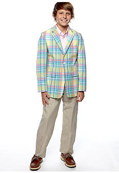 Izod Plaid Blazer with Oxford Shirt and Linen Pant Boys 8-20