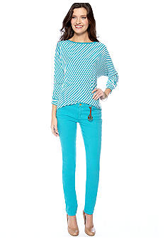MICHAEL Michael Kors Bias Stripe Dolman Sleeve Top & Colored Skinny Jean