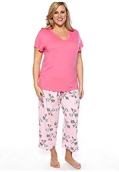 HUE Plus Size Short Sleeve V-Neck Pajama Tee & Plus Size Doxie Delight Capri Pajama Pants