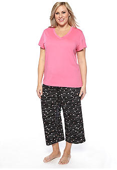 HUE Plus Size Short Sleeve V-Neck Pajama Tee & Plus Size Stroke Of Love Capri Pajama Pants