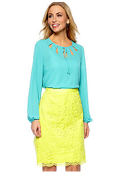Madison Tie Neck Blouse with Cutouts & Lace Skirt