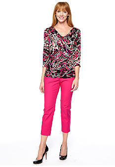 Madison Printed Knit and Woven Top & High Density Ankle Pant