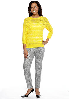 Ruby Rd Sunshine State Zig-Zag Stitch Tape Yarn Pullover Sweater and Foil Printed Ankle Twill Pant