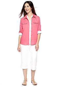 Kim Rogers® Lace Button Front Shirt Jacket, Linen Button Down Top with Patch Pockets & Petite Linen Drawstring Capri