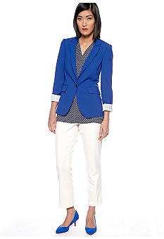 Vince Camuto Inverted Notch Blazer, Sleeveless Medallion Print High Low Blouse & Skinny Cuffed Ankle Pant