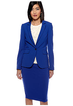 Vince Camuto Inverted Notch Blazer, Sleeveless Rose Lace Blouse & Midi Tube Skirt