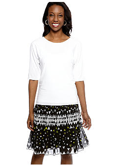 Madison Pleated Back Top & Print Pleated Skirt
