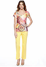 Petite Printed Sublimation Top & Petite Sateen Pant with Extended Tab