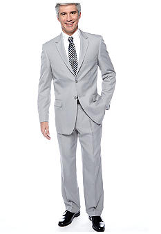 Saddlebred® Light Gray Stria Suit Separate Coat, Light Gray Stria Suit Separate Pants & Eagle Shirtmakers Non-Iron Pinpoint Dress Shirt