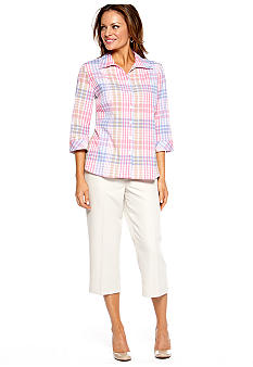 Kim Rogers® Petite Three Quarter Sleeve Textured Blouse & Microfiber Capri