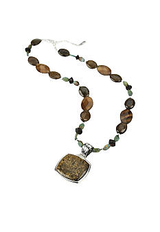 Barse Bronzite and Green Turquoise Beaded Necklace - Belk.com