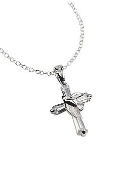 Belk Silverworks Silver Dove on CZ Cross Necklace
