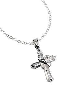 Belk Silverworks Silver Dove on CZ Cross Necklace