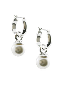 Anne Klein Silver Hoop with Pearl Drop Earrings