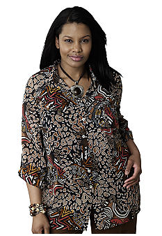 Ruby Rd Plus Size Citrus Splash Geo Square Mesh Burnout Blouse