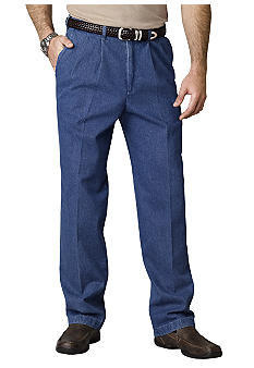 Haggar Work-To-Weekend Pleated Denim Pants