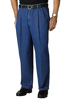Haggar Big & Tall Work to Weekend® Denim Classic-Fit Pleated Pants