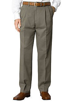 Savane Big & Tall Performance Chino Pleated Straight Fit Wrinkle-Free Pants