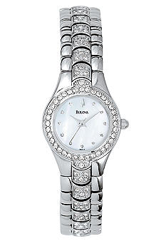 Bulova Ladies Stainless Steel Round Mother Of Pearl Dial Watch