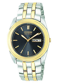 Citizen Mens' Eco Drive Two Tone Bracelet Black Dial with Day/Date