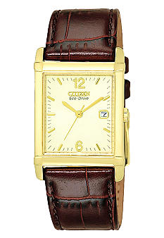 Citizen Men's Eco-Drive Brown Leather Strap Champagne Dial