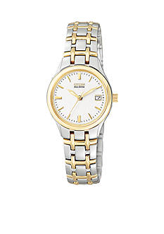 Citizen Eco-Drive Ladies Two-Tone White Dial Watch