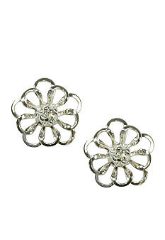 Napier Small Openwork Flower Button Earring