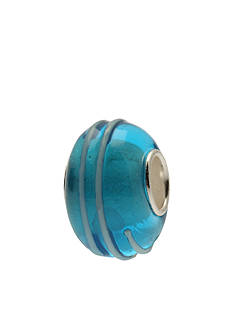 Belk Silverworks Spiral White Lines on Turquoise Glass Originality Bead