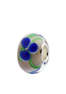 Belk Silverworks Blue Flower with Green Swirl Originality Bead