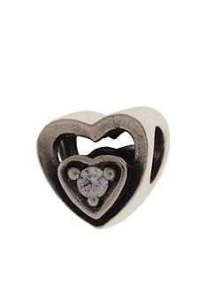 Belk Silverworks Heart Frame Cubic Zirconia Originality Bead