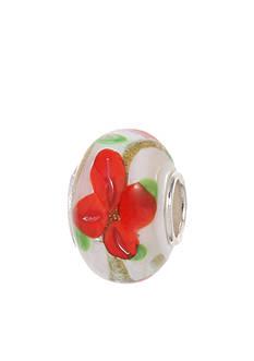 Belk Silverworks Red Poinsettia Glass Charm Bead