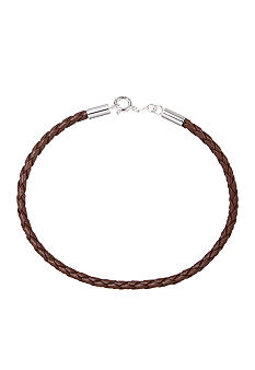 Belk Silverworks Brown Braided Leather 7-Inch Originality Bead Bracelet