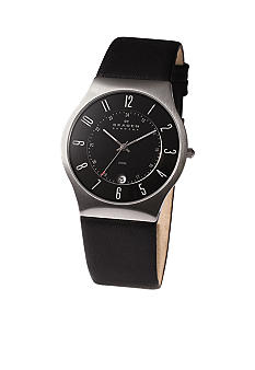 Skagen Men's Steel and Black Leather Strap