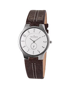 Skagen Men's Brown Leather Steel Strap