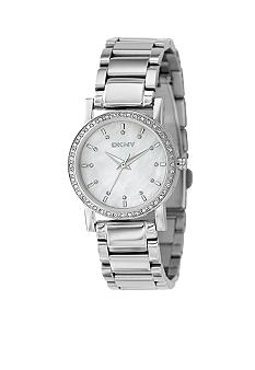DKNY Women's Stainless Steel Crystal Accented MOP Dial Watch