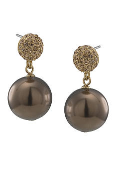 Carolee Large Gold and Brown Double Drop Earring