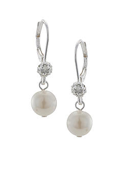 Carolee Tiny Pave and Pearl Drop Earrings
