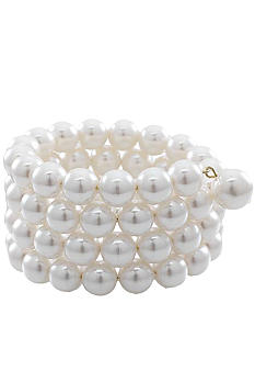Carolee 10mm Simulated Pearl 4 Row Coil Bracelet