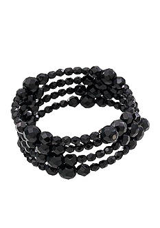 Carolee Faceted Jet Bead Coil Bracelet