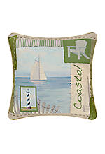 Blue/Sage Coastal Pillow 18-in. x 18-in.