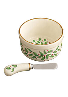 Lenox Holiday Dip Bowl with Spreader